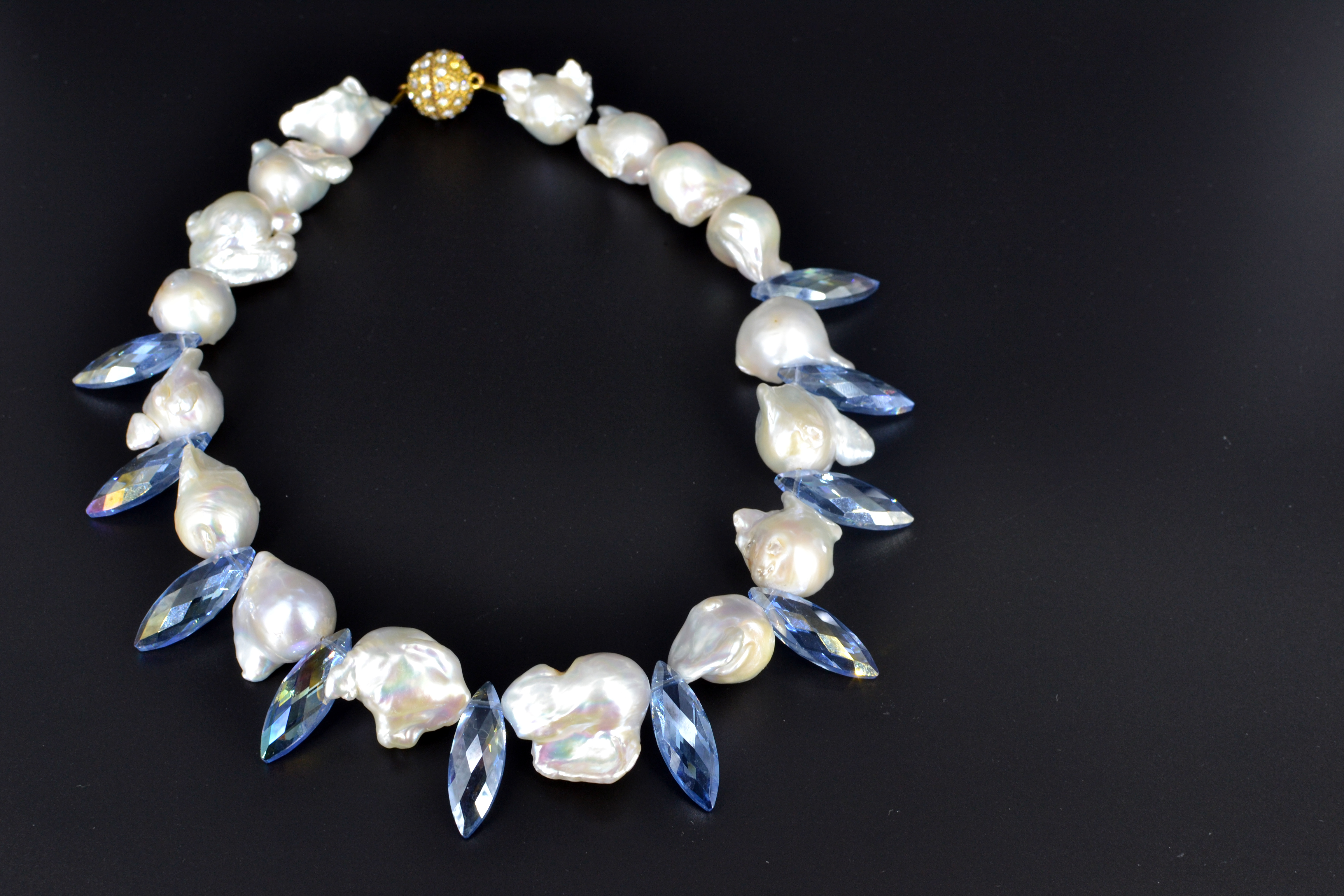 large baroque freshwater pearl necklace w blue crystals. Black Bedroom Furniture Sets. Home Design Ideas