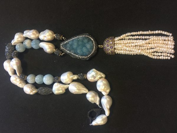Aquamarine and Freshwater Pearl Necklace with Black Swarovski Crystal Separators and Druzy