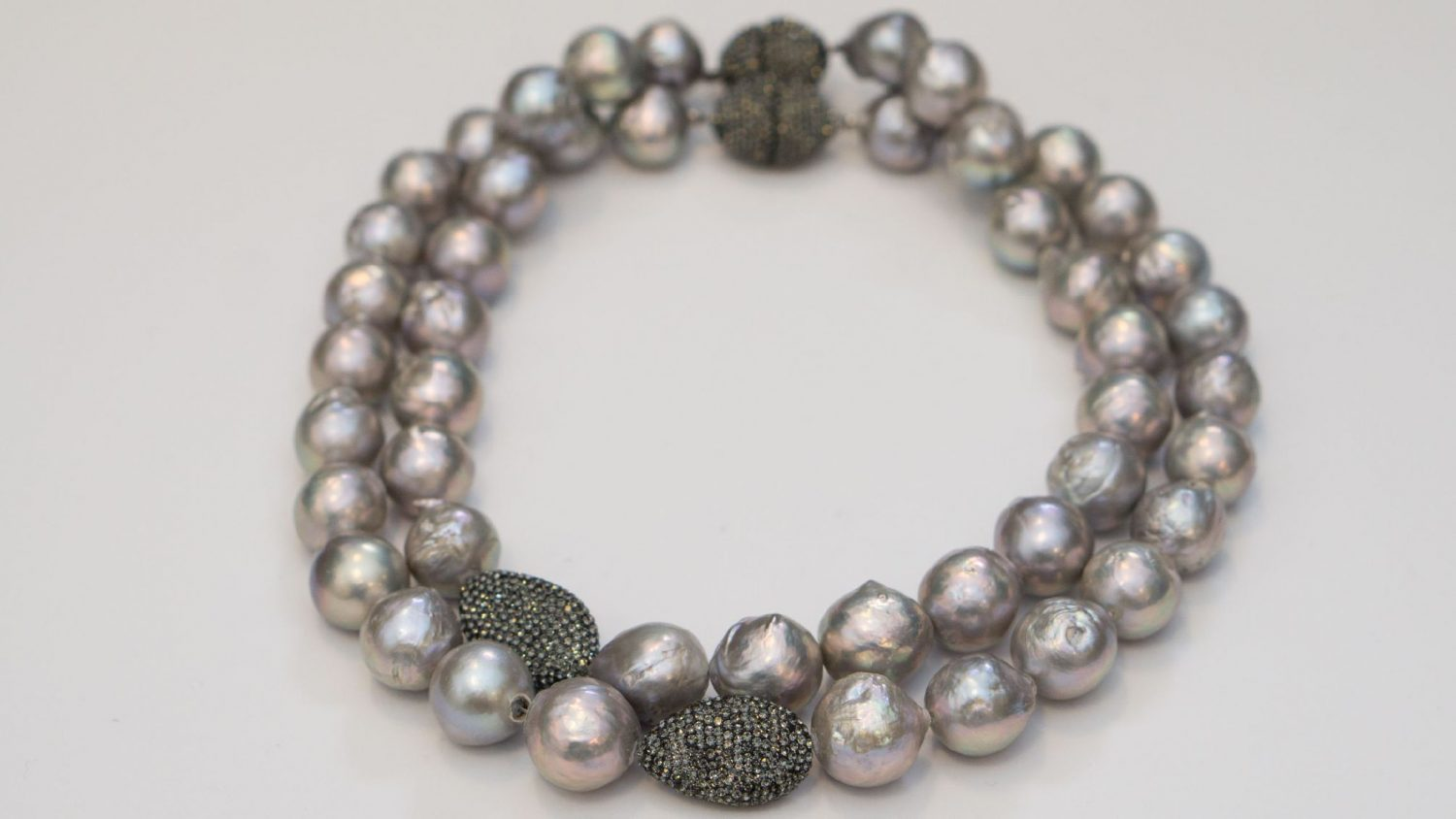 Large Gray Baroque Freshwater Pearl Necklace