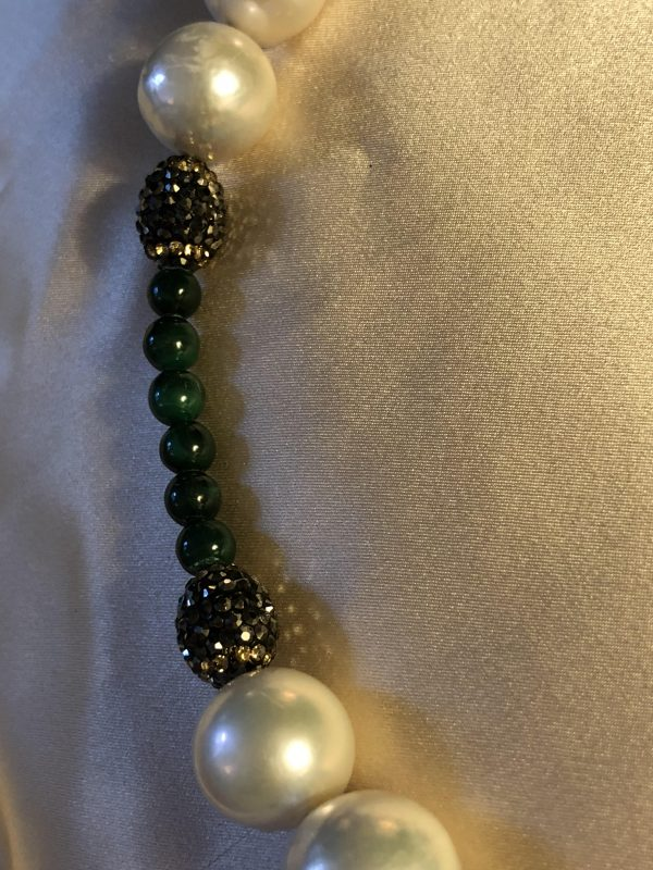 Round White Baroque Freshwater Pearls with Malachite Nugget