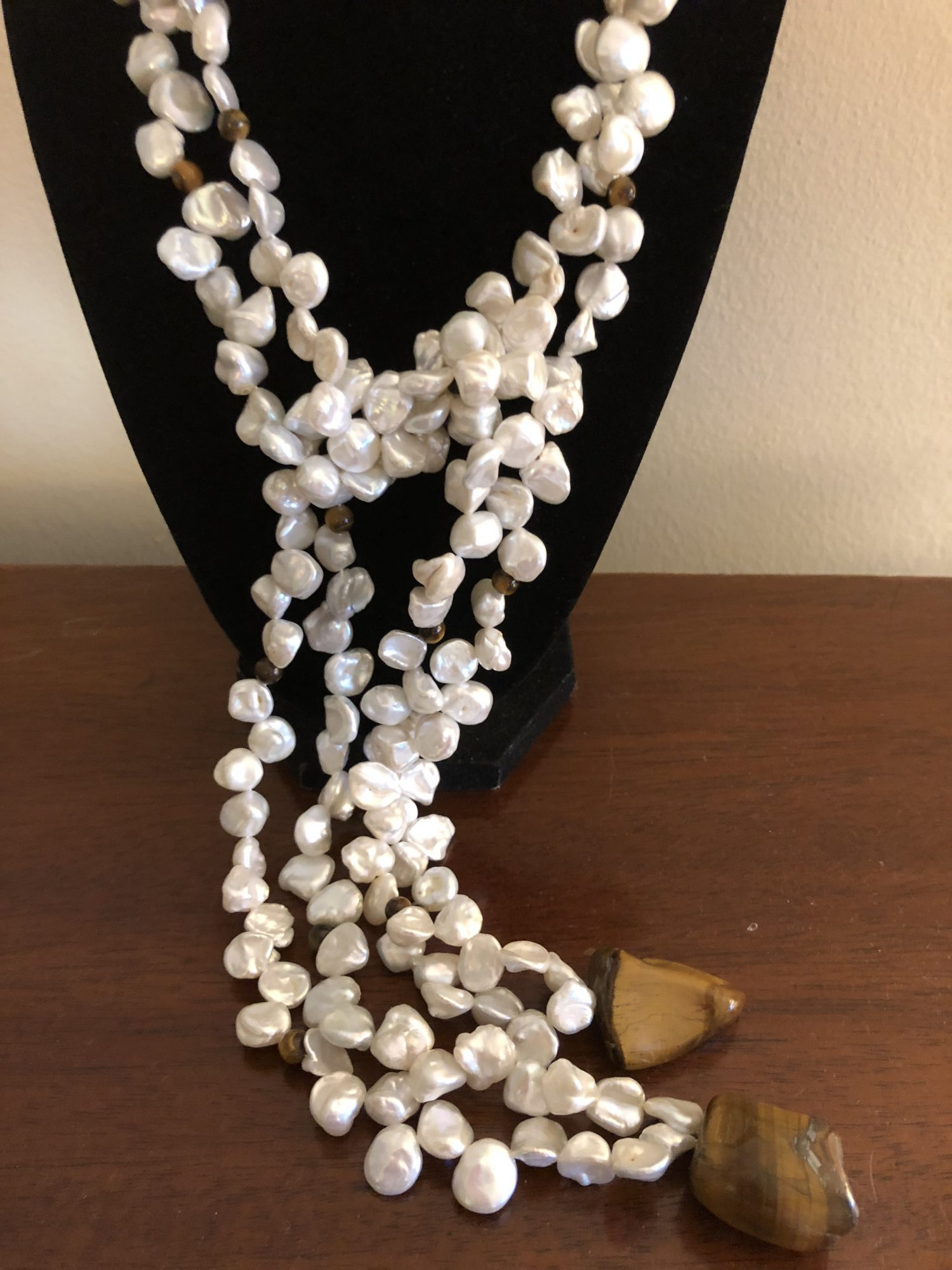 Tiger's Eye Pearl Lariet Necklace