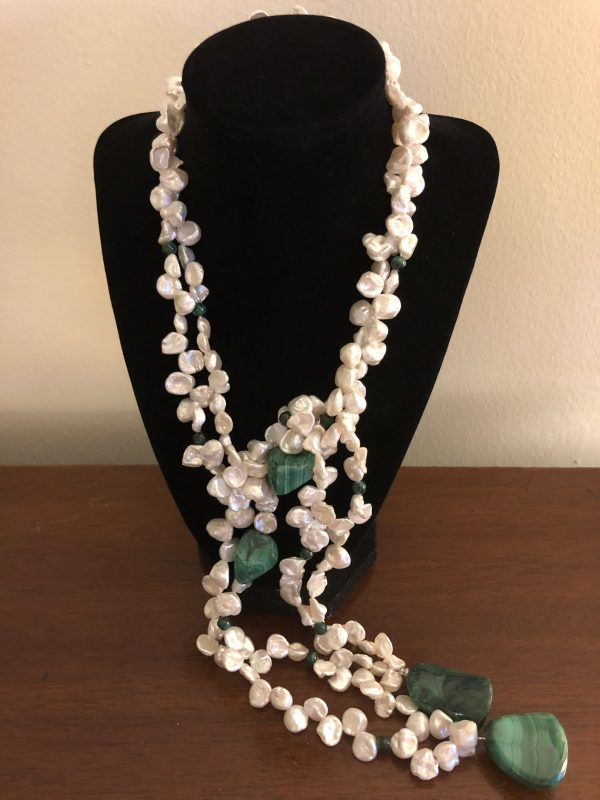 Malachite Pearl Lariet Necklace
