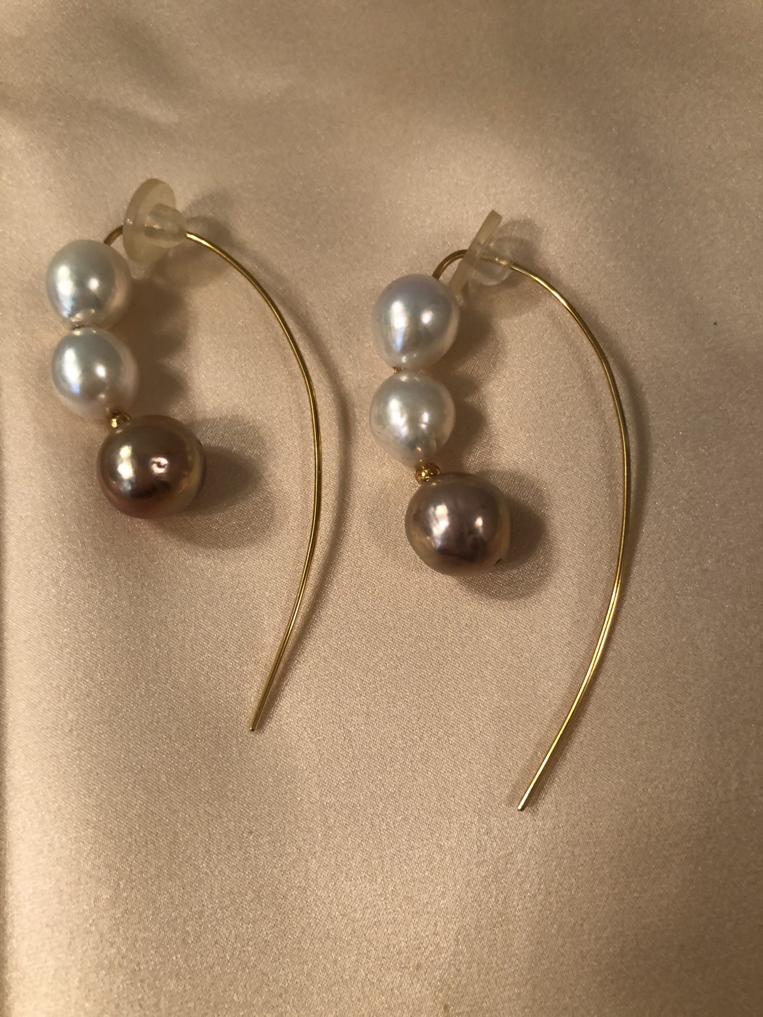 3 pearl earrings