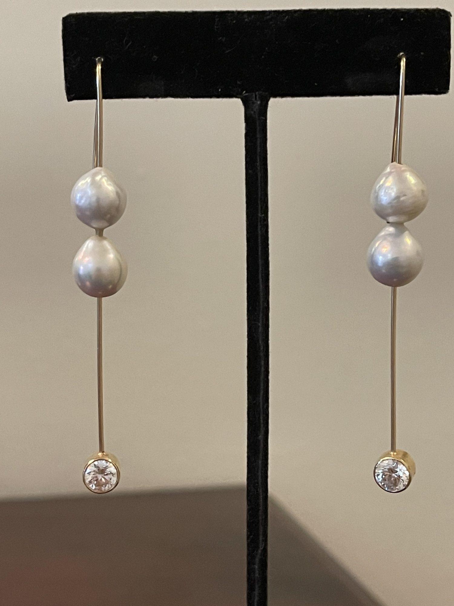 14kt. Gold Moissanite Stone Freshwater Pearl Earrings