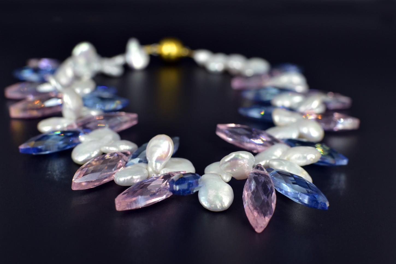 black freshwater pearl necklace w swarovski crystals. Black Bedroom Furniture Sets. Home Design Ideas