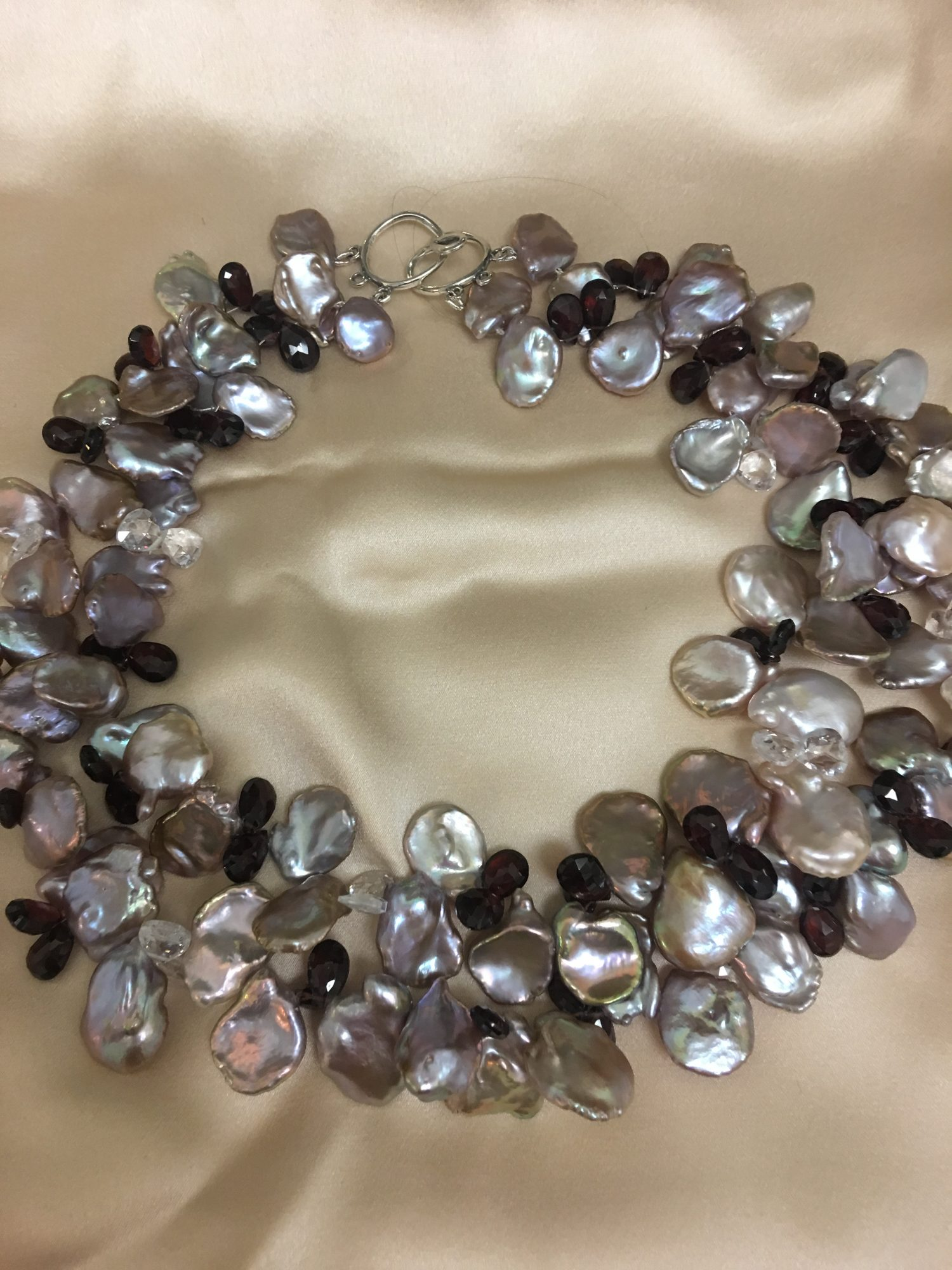 Tan/Mauve Kashi Pearl Necklace With Garnet and Crystal