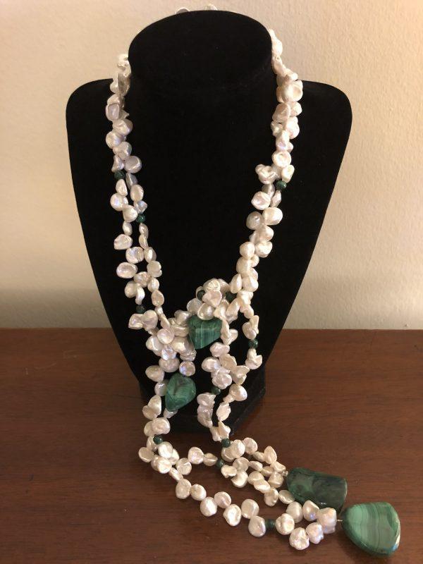 Malachite Pearl Lariet Necklace