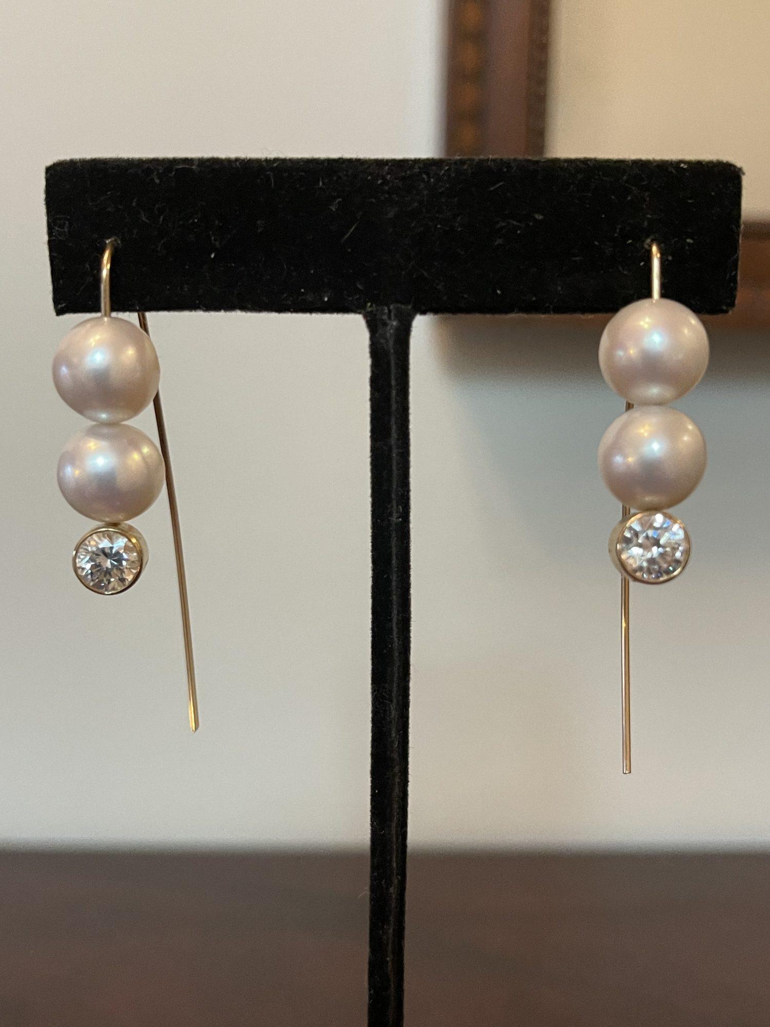 Moissanite Freshwater Pearl Earrings